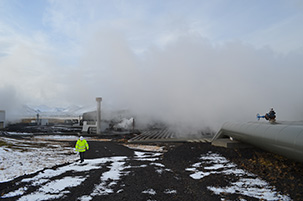 Iceland's Hellisheidi geothermal power plant is the world's largest. It is cleaner than those run on fossil fuels, but still emits carbon dioxide by venting volcanic gases.