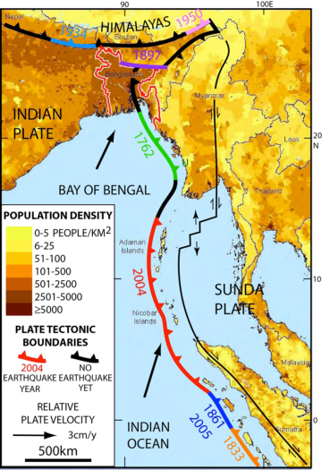 Bangladesh, Myanmar and eastern India (all near top) are bisected by an extension of the tectonic boundary that ruptured under the Indian Ocean in 2004, killing some 230,000 people. Known quakes along the boundary's southern end are shown in different colors; the black sections nearer the top have not ruptured in historic times, but new research suggests they could.  (Michael Steckler/Lamont-Doherty Earth Observatory)