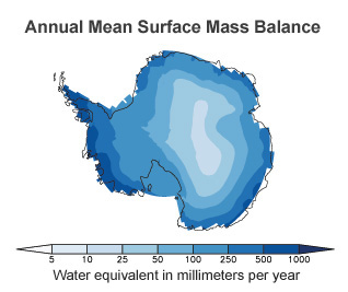 Antarctica's annual mean surface mass balance estimated using CMIP5 climate models. Future snowfall increases will likely be largest around the edges of the continent, where storms blow in and temperatures tend to be warmer.  Image: Previdi and Polvani, 2016.
