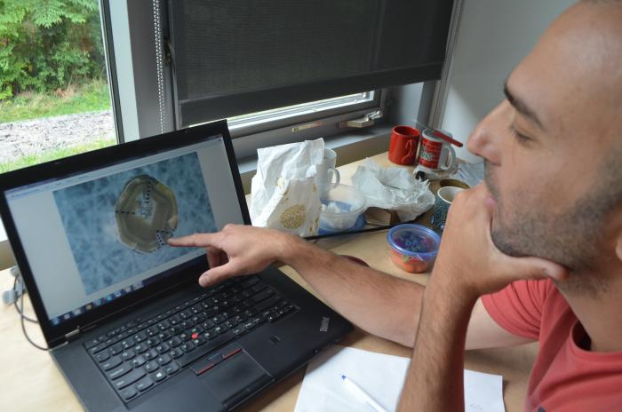 Geochemist Yaakov Weiss examines a magnified image of a rough diamond. The chemical compositions of tiny fluid droplets within diamonds match those of lavas that form some volcanic islands. (Kevin Krajick/Lamont-Doherty Earth Observatory)
