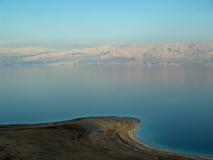 The landlocked Dead Sea is shrinking rapidly. A new study suggests it has largely dried up in the past during natural warm periods, suggesting that human-influenced climate change could make the surrounding region much more arid than it already is. (David Shankbone/Wikimedia Commons)