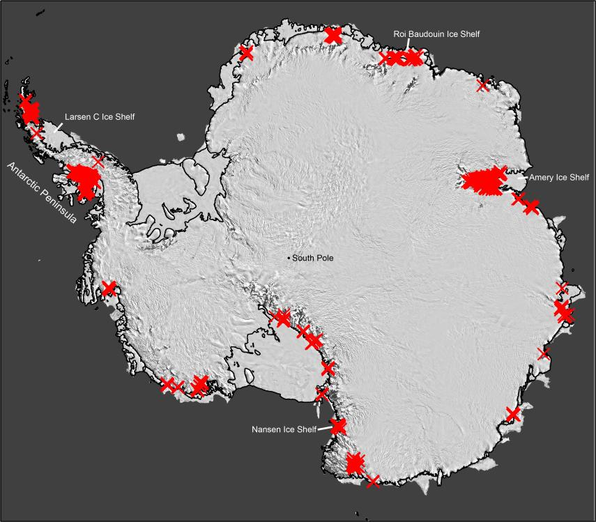 Scientists have discovered that seasonally flowing streams fringe much of Antarctica's ice. Each red 'X' represents a separate drainage. Up to now, such features were thought to  exist mainly on the far northerly Antarctic Peninsula (upper left). Their widespread presence signals that the ice may be more vulnerable to melting than previously thought. (Adapted from Kingslake et al., Nature 2017)