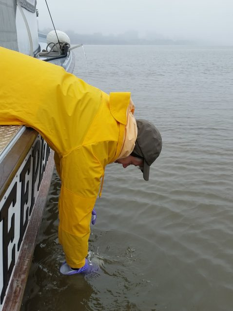 Carol Knudson, a research assistant at Lamont-Doherty Earth Observatory, samples the Hudson River for the presence of drugs. Pharmaceuticals have been detected throughout the river. (John Lipscomb/Riverkeeper)