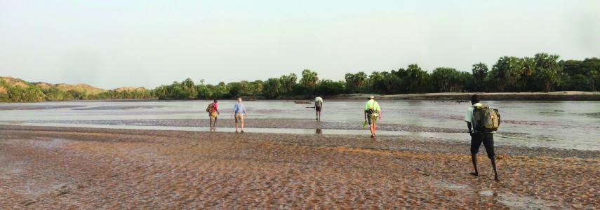Research team crossing the Turkwel River en route to a fossil locality (Kevin Uno).