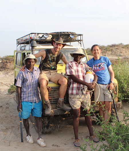 Uno (far right) and colleagues after a long day in the field on the eastern shore of Lake Turkana (David Braun)