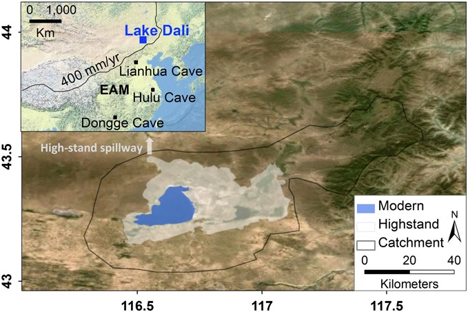 Modern and highstand extent and catchment of Lake Dali. Inset shows extent of the East Asia monsoon and the location of Lake Dali and Lianhua, Hulu and Dongge caves. Climate records from the caves were used in the study. Graphic: Goldsmith et al., PNAS 201