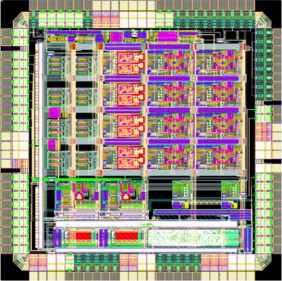 Engineers are experimenting with chip design to boost computer performance. In this layout of a chip developed at Columbia, analog and digital circuits are combined in a novel architecture to solve differential equations with extreme speed and energy efficiency. Image: Simha Sethumadhavan, Mingoo Seok and Yannis Tsividis/Columbia Engineering