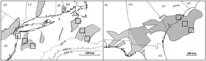 Off-shore and on-shore basalt regions mapped by Goldberg's team. Maps courtesy of David Goldberg