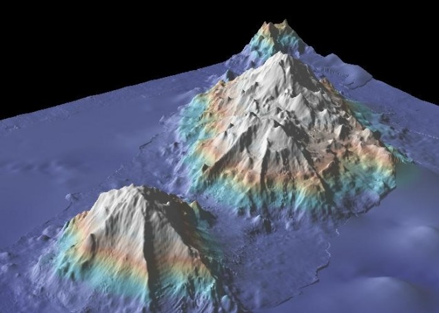 The Marine Geoscience Data System's high-resolution images provide detailed views of sea mounts like these and other sections of the seafloor. About 8 percent of the seafloor has been mapped to 100-meter resolution like this. Source: GeoMapApp