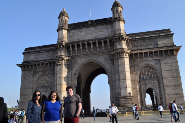 Chia-Ying Lee, Suzana Camargo, & Kyle Mandli in front of the Gateway of India. Photo by Suzana Camargo