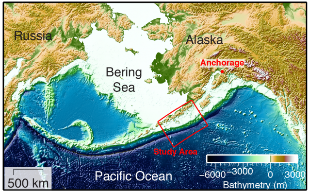 The discovery was made around the western end of the Alaska Peninsula and the eastern Aleutian Islands. (Anne Becel)