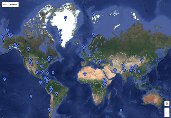 Click on the image to see a map detailing Earth Institute fieldwork.