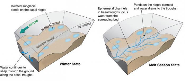 The illustration shows where water pools in winter and how it flows during the melt season. Illustration: Winnie Chu