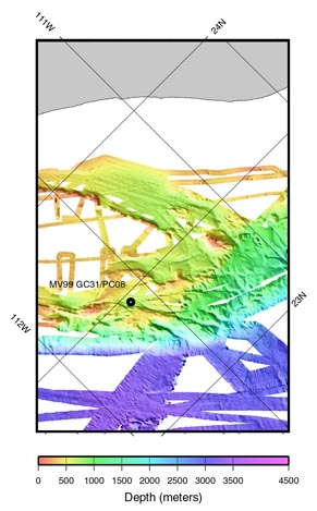 a close up of the SeaBeam bathymetry of the area.