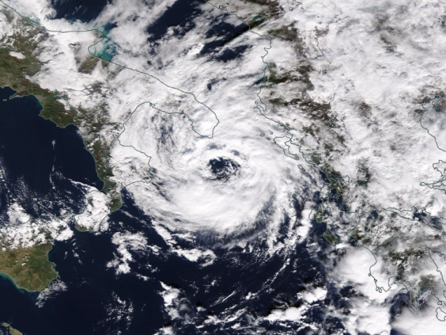 "A Mediterranean ""hurricane"" named Numa struck Greece last week. Image: NASA"