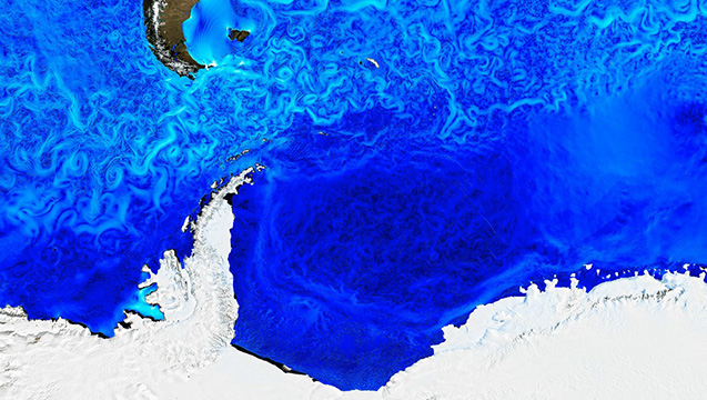 Visualization from a model of global ocean currents. Credit: NASA/JPL-Caltech