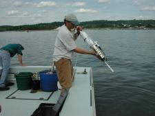Photo of John Lipscomb deploying a CTD