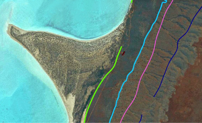 The colored lines on the satellite image of Australia's southern Cape Range mark ancient shorelines from four periods when the ocean was higher than today. Image: Michael Sandstrom