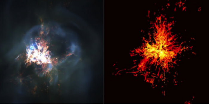 Modeling natural processes requires massive computer power. At the center of the distant Perseus cluster of galaxies, a black hole is driving the cyclic heating and cooling of gases. In this simulation, hot gases emitting X-ray light (left) are juxtaposed against the cooling phase (right). It took a supercomputer 200 hours to produce this simulation.  Image: Greg Bryan and Yuan Li/Department of Astronomy