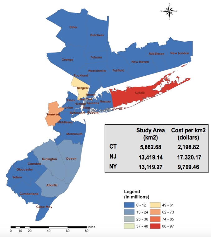 Distribution of total damages per county for all storms combined. Somerset, Suffolk and Bergen experienced more than $50 million in losses while New York, Atlantic, and Burlington faced more than $15 million in damages. / Graphic: Shimkus, et al