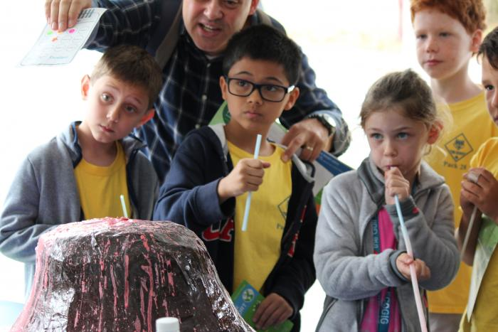 Our future scientists in the Open House crowd got to create human-powered volcanic eruptions, too.