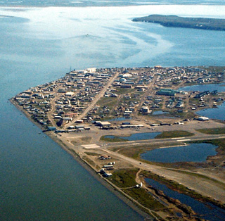 The Native Village of Kotzebue is at the tip of a peninsula in Kotzebue Sound, just above the Arctic Circle. Photo: U.S. Army Corps of Engineers