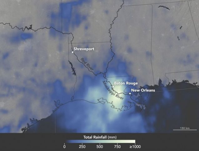 Click to see map in animation, showing satellite-based measurements of the rainfall totals every three hours over the span of 72 hours from August 12-14, 2016. These rainfall totals are regional, remotely-sensed estimates, and local amounts can be significantly higher when measured from the ground. Image: NASA