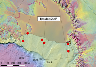 The red dots show locations where the team plans to deploy ALAMO floats in the Ross Sea.