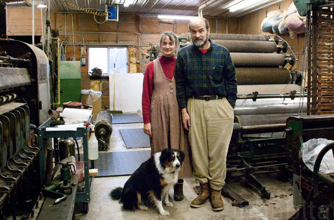 Jay Ardai and Suzanne O'Hara in the woolen mill they restored near Genoa, N.Y. after Ardai retired. Photo courtesy of Amanda Silvana Coen.