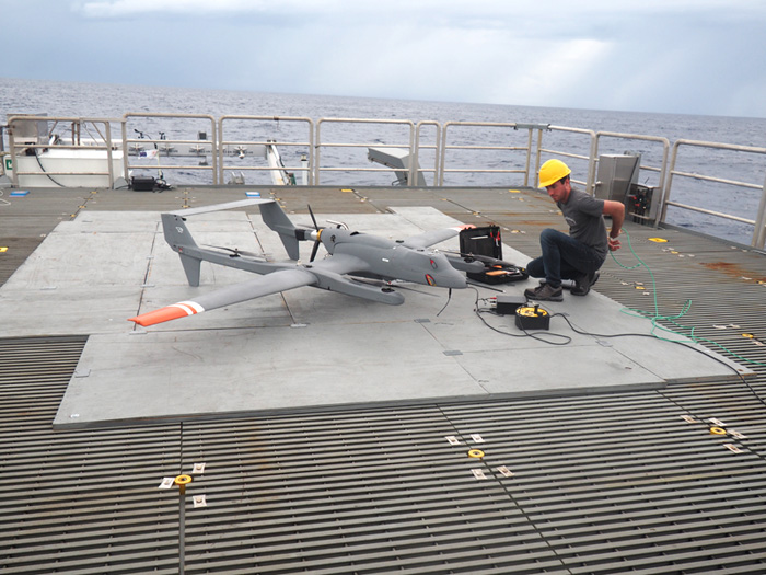A new research project being developed with the Alaska Native Village of Kotzebue will deploy drones similar to the one Lamont engineer Scott Brown is working with here to study sea ice change. Photo: Christopher Zappa