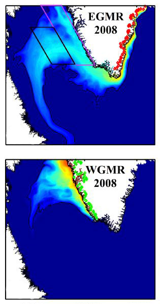 Tracers released with meltwater runoff at the red and green dots show where meltwater flowed in 2008 after leaving Greenland's East Coast (EGMR) and West Coast (WGMR). Image: Luo et al., 2016