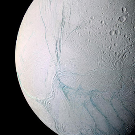Saturn's moon Enceladus, as viewed by the Cassini spacecraft. Image: NASA