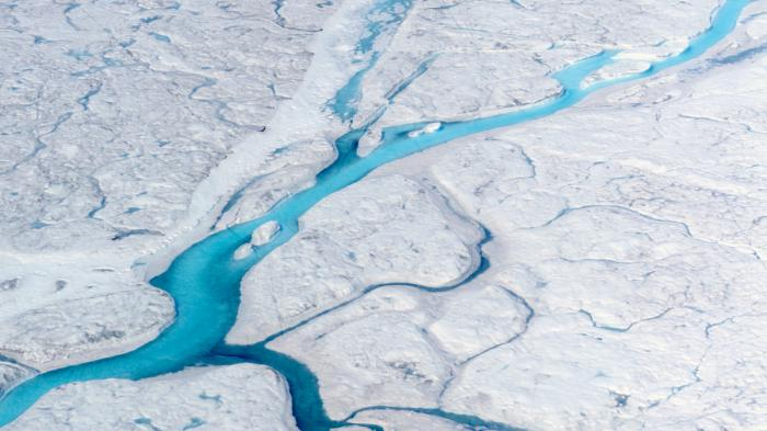 Rivers of meltwater runoff on the greenland ice sheet. M. Tedesco/Columbia University