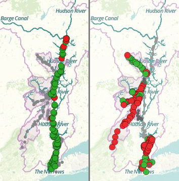 Riverkeeper maps focus on the Lower Hudson River, where people are more likely to come in contact with fecal contamination. Most of the main stem of the Lower Hudson, on the left, tested within limits for safety in August 2016. However, tributaries that pass farm land and populated areas tended to have more fecal contamination, shown by red dots. Source: Riverkeeper