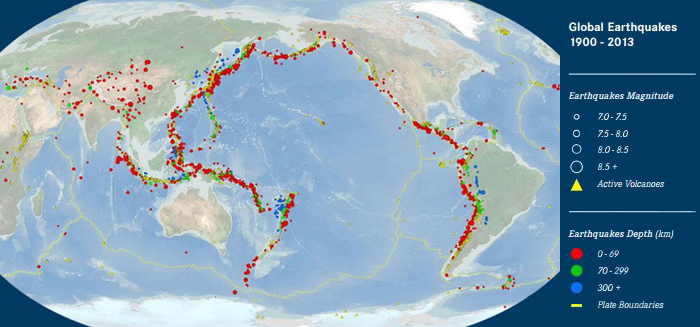 This map of large earthquakes outlines some of the most active tectonic plate boundaries. Slow-slip earthquakes create an ideal lab for investigating fault behavior along the shallow portion of subduction zones. Map: USGS