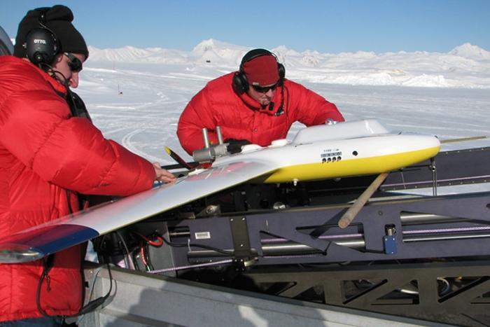 Christopher Zappa's team prepares a fixed-wing drone for a flight to study Arctic sea ice off Svalbard, Norway. Photo: Christopher Zappa