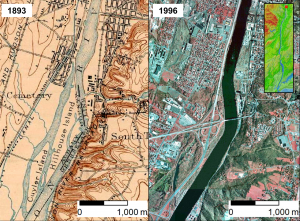 Historic maps show how the Hudson River has grown narrower and straighter, with more rigidly defined shores. Near Troy, NY, several prominent islands have disappeared.