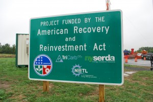 Economic stimulus money is funding the project.