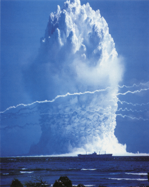 Before 1996, some 2,000 nuclear tests were conducted, many in the open. Since, then, three nations have broken a de facto ban: India, Pakistan and North Korea. Here: a 1958 U.S. underwater test at Enewetak Atoll, Pacific Ocean. (U.S. Government)