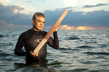James Zachos, a paleoceanographer at University of California, Santa Cruz, with a core of sediment from some 56 million years ago, when the oceans underwent acidification that could be an analog to ocean changes today.