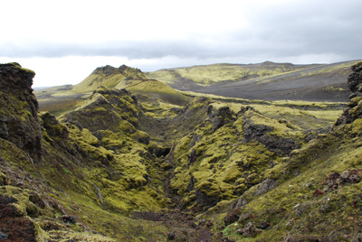 Looking along the central fissure of Laki volcano, Iceland