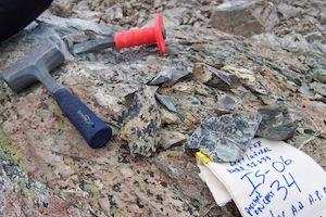 Rock samples were flown out of Irishman Basin by helicopter and shipped to the U.S. for analysis. Credit: Mike Kaplan
