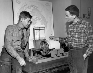 The Press-Ewing was developed at Lamont by then-graduate student Frank Press (right), under Lamont's founding director, Doc Ewing. (Columbia University Archives)