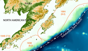 Mapping the Source of Great  Alaskan Earthquakes