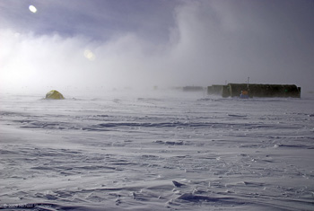 Researchers endured extreme wind and cold at a high-elevation field camp near the center of the ice sheet.