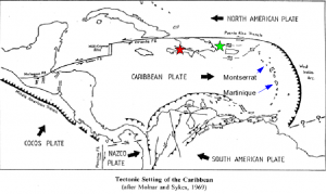 Tectonic plates and fault zones of the Caribbean