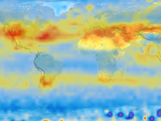 Exchange of the greenhouse gas carbon dioxide among oceans, air and land is now known to be a major controller of climate. Lamont scientists have gathered much of the fundamental data, and mapped this flux, above.