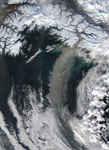 A 2005 dust storm over the Gulf of Alaska originated with glacial sediments left by retreating glaciers. (NASA)