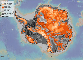 Bedrock elevations beneath the Antarctic ice sheet  (NSIDS)