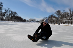 Unusually cold weather turned the Lincoln Memorial Reflecting Pool into an ice rink.